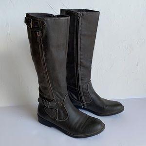 Aldo Grey Leather Boots Low Heel Under the Knee
